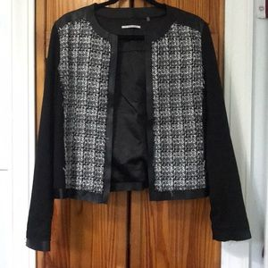 T Tahari pleather, tweed and knit blazer